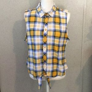 No Comment High/Low yellow plaid sleeveless top